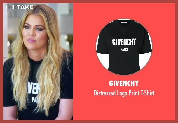 Givenchy black t-shirt from Keeping Up With The Kardashians seen with Khloe Kardashian