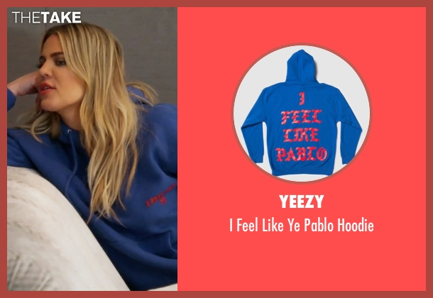 Yeezy blue hoodie from Keeping Up With The Kardashians seen with Khloe Kardashian