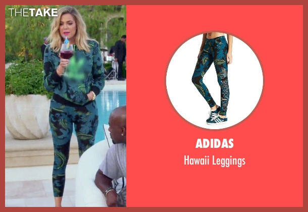 Adidas blue leggings from Keeping Up With The Kardashians seen with Khloe Kardashian