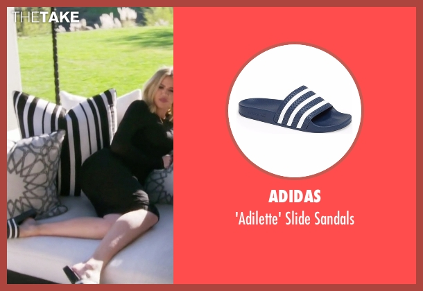 Adidas blue sandals from Keeping Up With The Kardashians seen with Khloe Kardashian