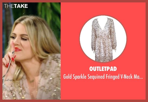 Outletpad gold dress from Keeping Up With The Kardashians seen with Khloe Kardashian