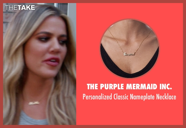 The Purple Mermaid Inc. gold necklace from Keeping Up With The Kardashians seen with Khloe Kardashian