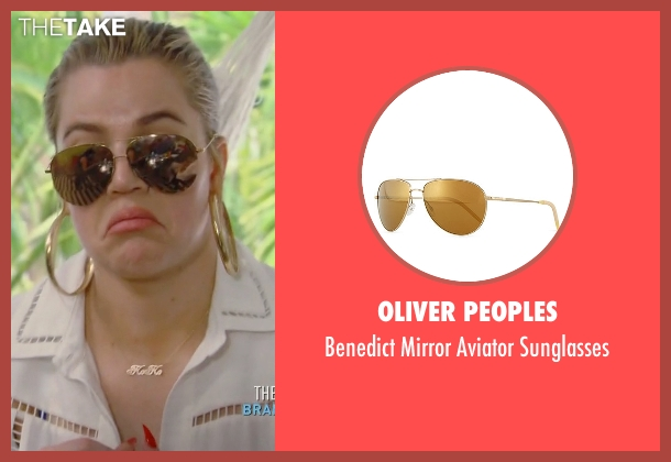 Oliver Peoples	  gold sunglasses from Keeping Up With The Kardashians seen with Khloe Kardashian