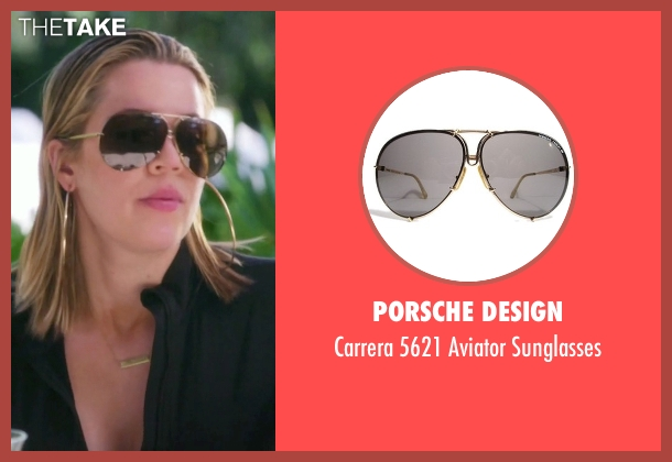 porsche sunglasses xdsm  Porsche Design gold sunglasses from Keeping Up With The Kardashians seen  with Khloe Kardashian