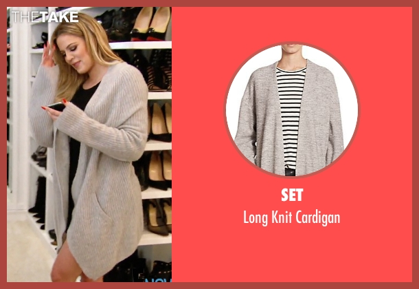 Set gray cardigan from Keeping Up With The Kardashians seen with Khloe Kardashian