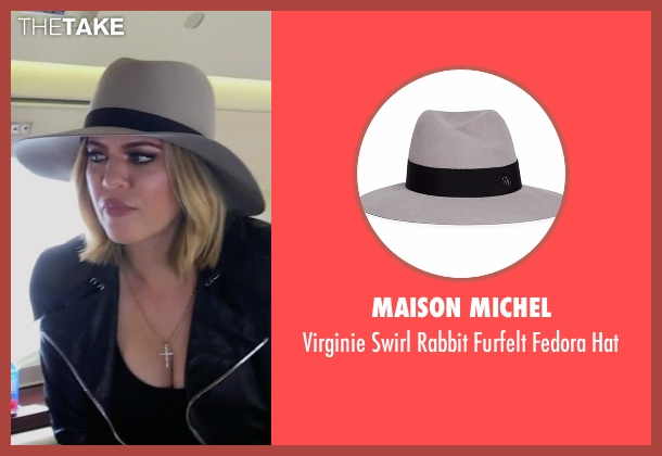 Maison Michel gray hat from Keeping Up With The Kardashians seen with Khloe Kardashian