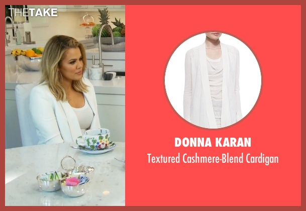 Donna Karan white cardigan from Keeping Up With The Kardashians seen with Khloe Kardashian