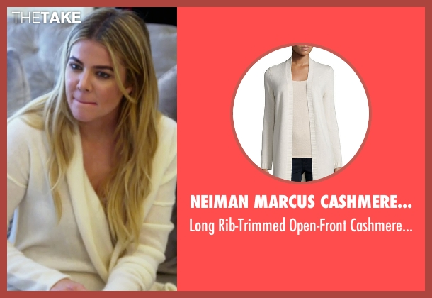 Neiman Marcus Cashmere Collection white cardigan from Keeping Up With The Kardashians seen with Khloe Kardashian