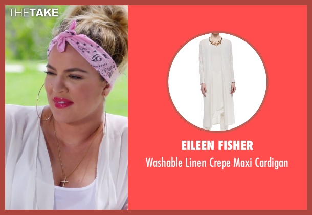Eileen Fisher white cardigan from Keeping Up With The Kardashians seen with Khloe Kardashian