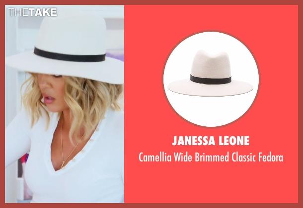 Janessa Leone white fedora from Keeping Up With The Kardashians seen with Khloe Kardashian
