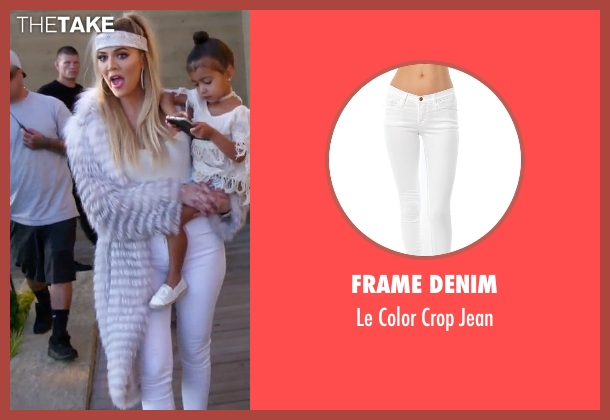 Frame Denim white jean from Keeping Up With The Kardashians seen with Khloe Kardashian