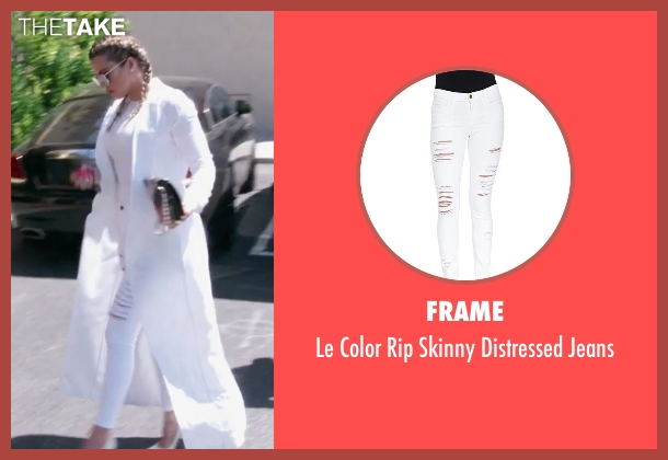 Frame white jeans from Keeping Up With The Kardashians seen with Khloe Kardashian