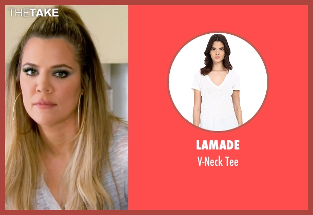 LAmade white tee from Keeping Up With The Kardashians seen with Khloe Kardashian