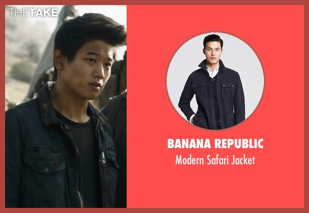Banana Republic blue jacket from Maze Runner: The Scorch Trials seen with Ki Hong Lee (Minho)