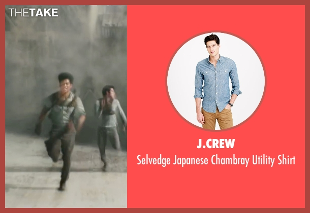 J.Crew blue shirt from Maze Runner: The Scorch Trials seen with Ki Hong Lee (Minho)