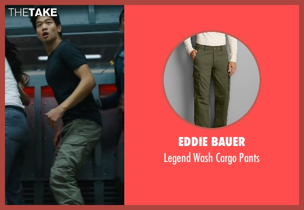 Eddie Bauer green pants from Maze Runner: The Scorch Trials seen with Ki Hong Lee (Minho)