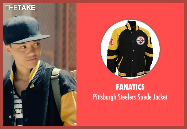 Fanatics black jacket from Dope seen with Kiersey Clemons (Diggy)