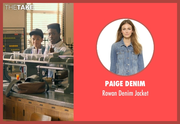 Paige Denim blue jacket from Dope seen with Kiersey Clemons (Diggy)
