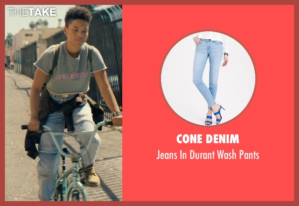 Cone Denim blue pants from Dope seen with Kiersey Clemons (Diggy)
