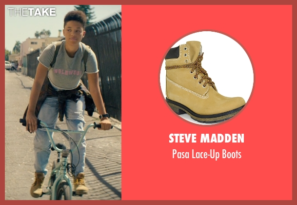 Steve Madden brown boots from Dope seen with Kiersey Clemons (Diggy)