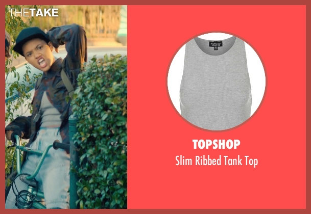 Topshop gray top from Dope seen with Kiersey Clemons (Diggy)