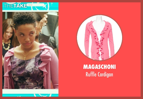 Magaschoni pink cardigan from Dope seen with Kiersey Clemons (Diggy)