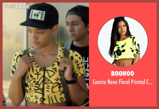 Boohoo yellow top from Dope seen with Kiersey Clemons (Diggy)