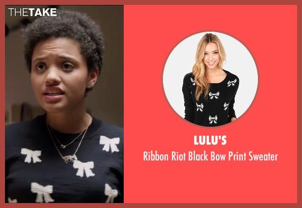 Lulu's black sweater from Neighbors 2: Sorority Rising seen with Kiersey Clemons (Beth)