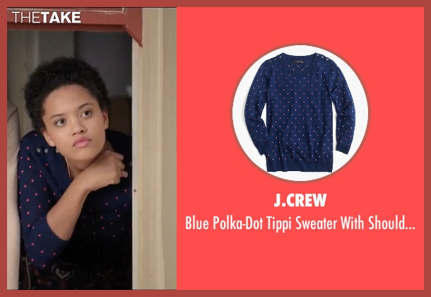 J.Crew blue buttons from Neighbors 2: Sorority Rising seen with Kiersey Clemons (Beth)