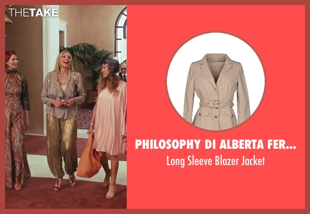 Philosophy Di Alberta Ferretti beige jacket from Sex and the City 2 seen with Kim Cattrall (Samantha Jones)