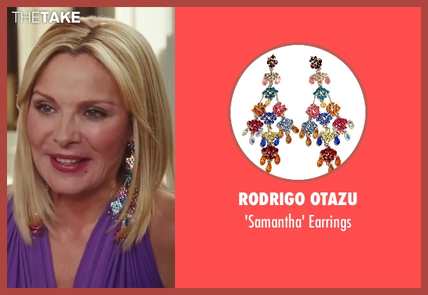 Rodrigo Otazu blue earrings from Sex and the City 2 seen with Kim Cattrall (Samantha Jones)