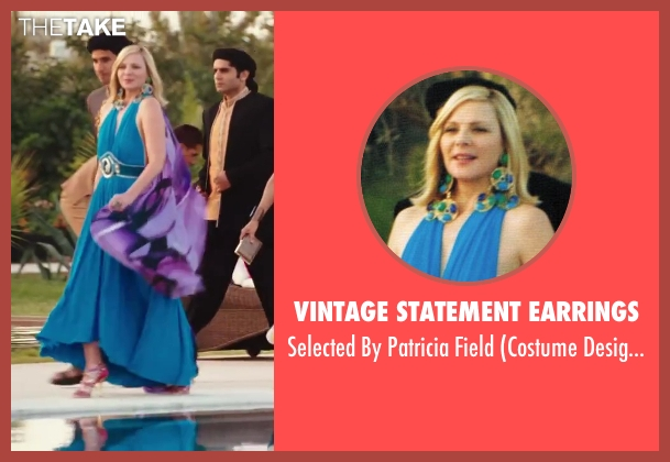 Vintage Statement Earrings blue field from Sex and the City 2 seen with Kim Cattrall (Samantha Jones)
