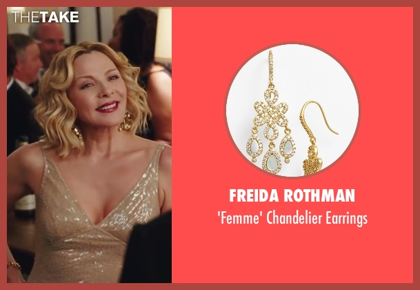 Freida Rothman gold earrings from Sex and the City 2 seen with Kim Cattrall (Samantha Jones)