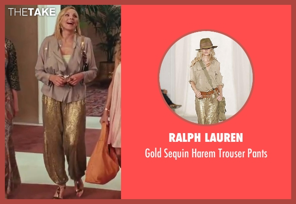 Ralph Lauren gold pants from Sex and the City 2 seen with Kim Cattrall (Samantha Jones)