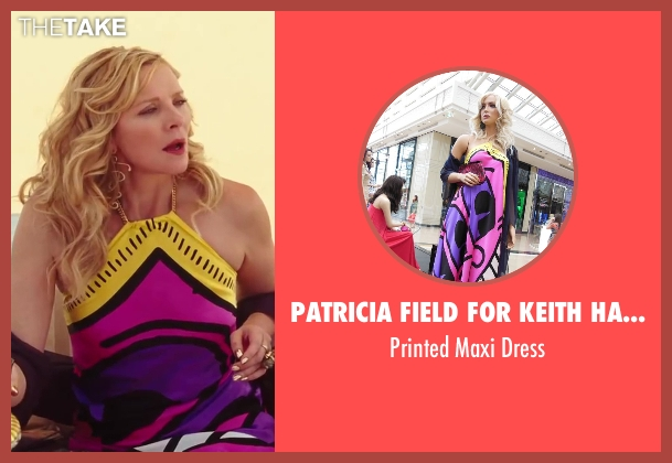 Patricia Field for Keith Haring purple dress from Sex and the City 2 seen with Kim Cattrall (Samantha Jones)