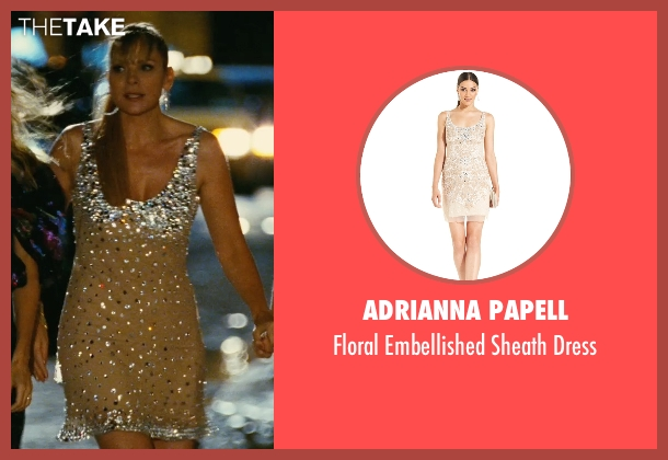 Adrianna Papell beige dress from Sex and the City seen with Kim Cattrall (Samantha Jones)
