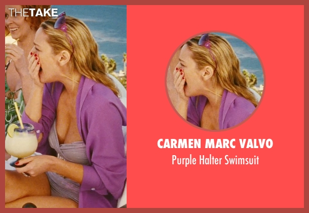Carmen Marc Valvo purple swimsuit from Sex and the City seen with Kim Cattrall (Samantha Jones)