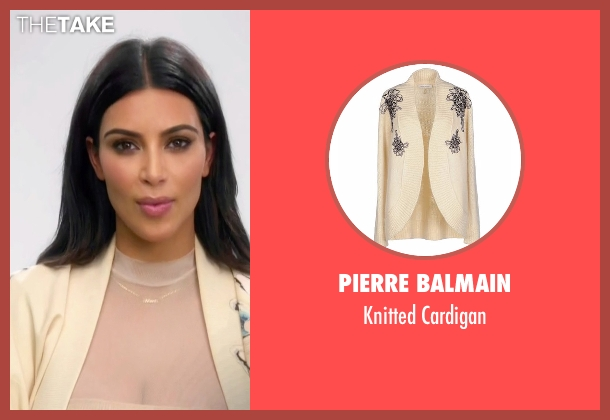 Pierre Balmain beige cardigan from Keeping Up With The Kardashians seen with Kim Kardashian West