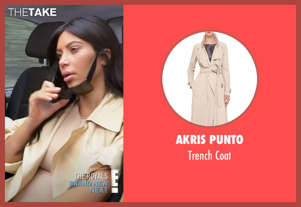 Akris Punto beige coat from Keeping Up With The Kardashians seen with Kim Kardashian West