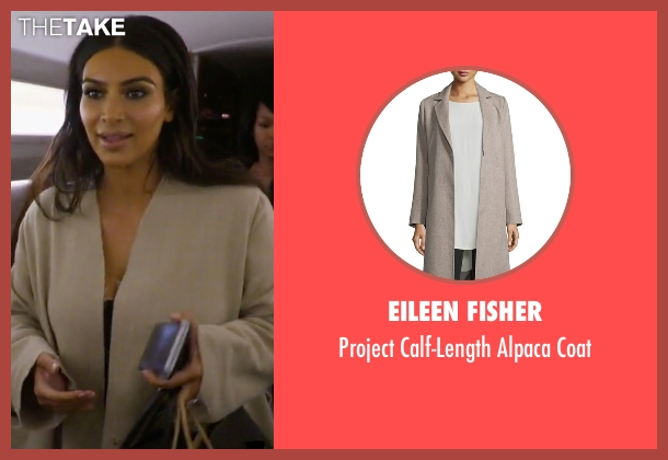 Eileen Fisher beige coat from Keeping Up With The Kardashians seen with Kim Kardashian West