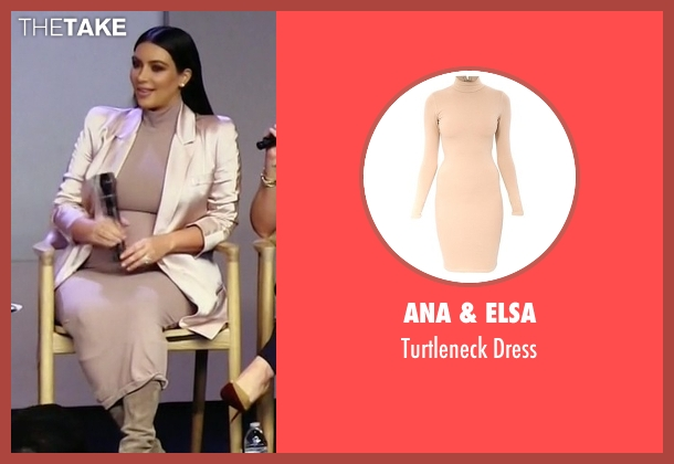 Ana & Elsa beige dress from Keeping Up With The Kardashians seen with Kim Kardashian West