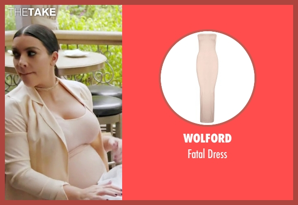 Wolford beige dress from Keeping Up With The Kardashians seen with Kim Kardashian West