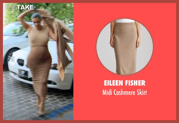 Eileen Fisher beige skirt from Keeping Up With The Kardashians seen with Kim Kardashian West