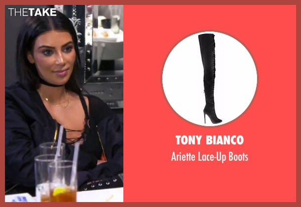 Tony Bianco black boots from Keeping Up With The Kardashians seen with Kim Kardashian West