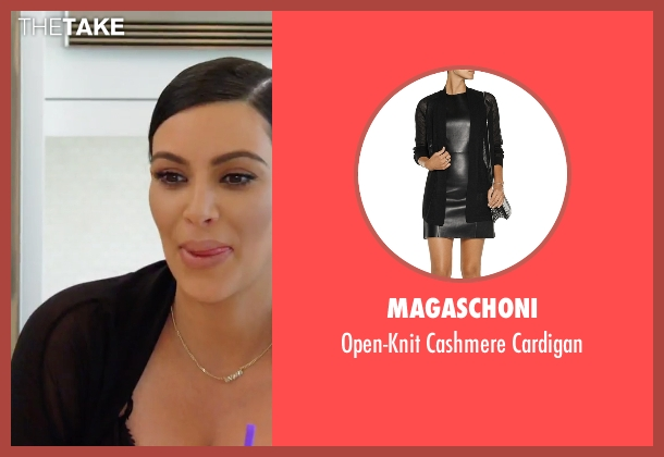 Magaschoni black cardigan from Keeping Up With The Kardashians seen with Kim Kardashian West