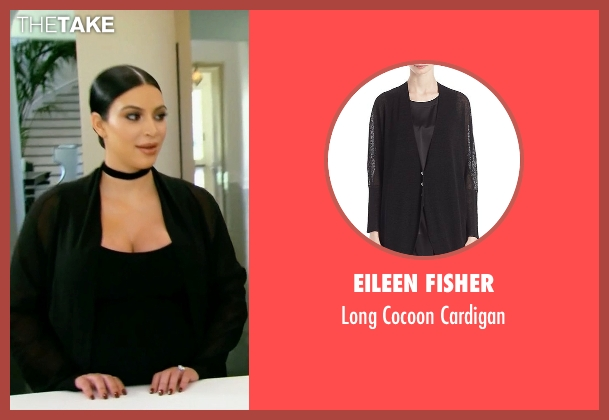 Eileen Fisher black cardigan from Keeping Up With The Kardashians seen with Kim Kardashian West