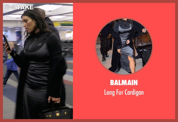 Balmain black cardigan from Keeping Up With The Kardashians seen with Kim Kardashian West