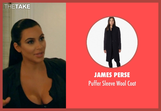 James Perse black coat from Keeping Up With The Kardashians seen with Kim Kardashian West