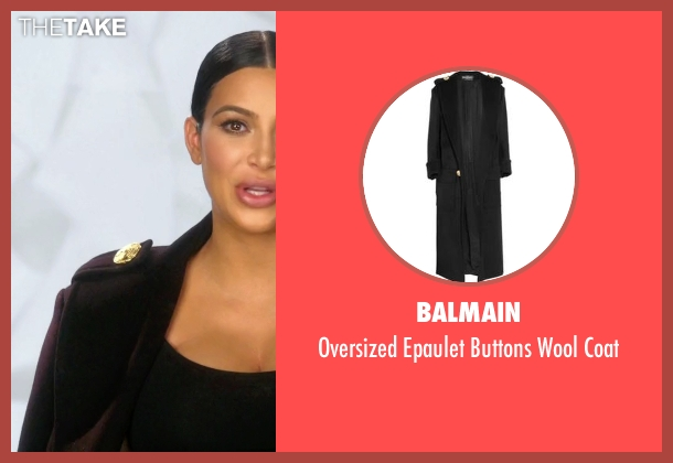 Balmain black coat from Keeping Up With The Kardashians seen with Kim Kardashian West