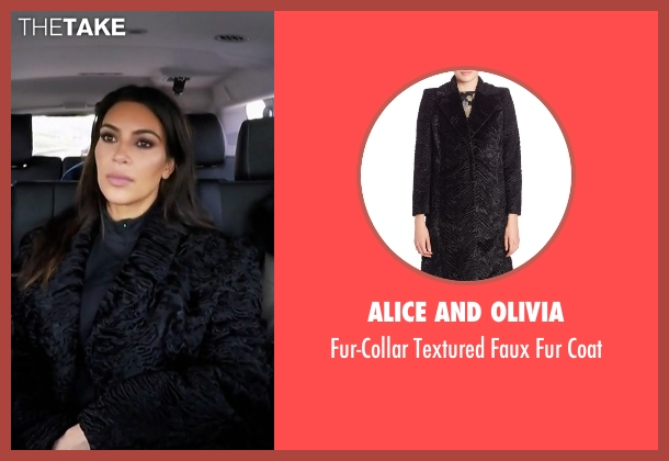 Alice and Olivia black coat from Keeping Up With The Kardashians seen with Kim Kardashian West